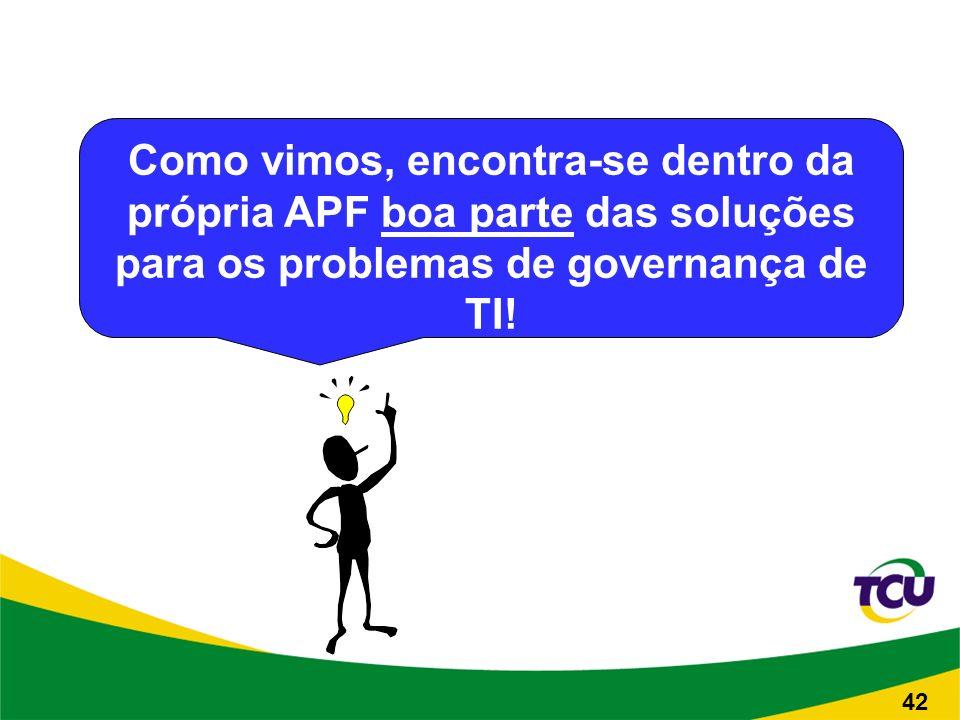 Como vimos, encontra-se dentro da própria APF boa parte das soluções para os problemas de governança de TI.