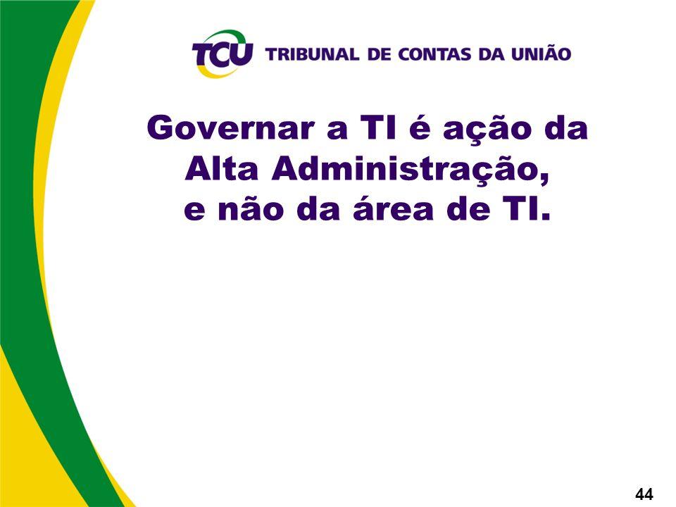 Governar a TI é ação da Alta Administração, e não da área de TI. 44