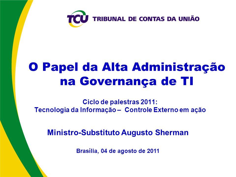 Ciclo de palestras 2011: Tecnologia da Informação – Controle Externo em ação Brasília, 04 de agosto de 2011 Ministro-Substituto Augusto Sherman O Papel da Alta Administração na Governança de TI