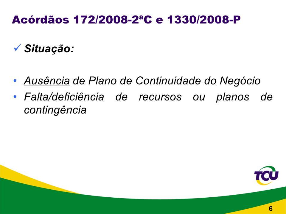 Acórdãos 172/2008-2ªC e 1330/2008-P Situação: Ausência de Plano de Continuidade do Negócio Falta/deficiência de recursos ou planos de contingência 6