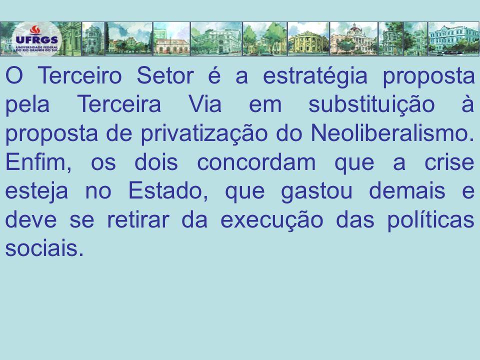 O Terceiro Setor é a estratégia proposta pela Terceira Via em substituição à proposta de privatização do Neoliberalismo. Enfim, os dois concordam que