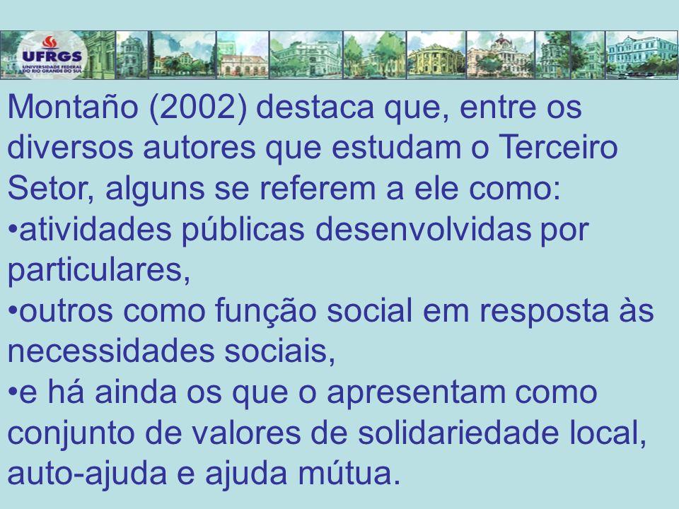 Montaño (2002) destaca que, entre os diversos autores que estudam o Terceiro Setor, alguns se referem a ele como: atividades públicas desenvolvidas po