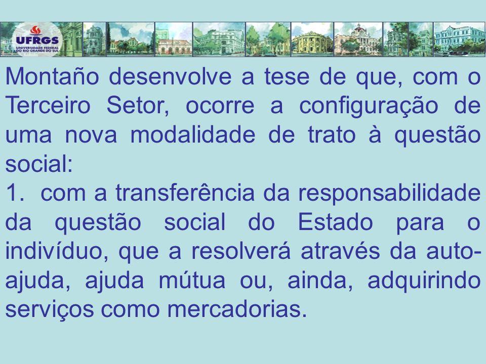 Montaño desenvolve a tese de que, com o Terceiro Setor, ocorre a configuração de uma nova modalidade de trato à questão social: 1. com a transferência