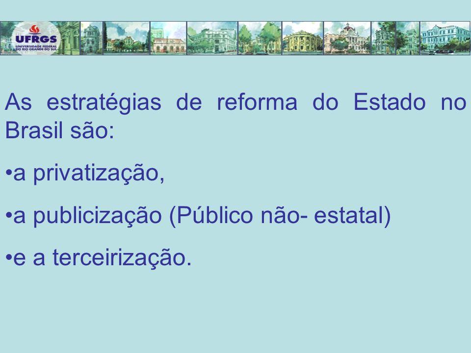 As estratégias de reforma do Estado no Brasil são: a privatização, a publicização (Público não- estatal) e a terceirização.