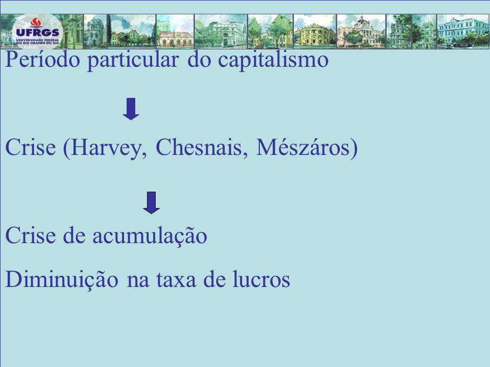 Está estáEstá está Período particular do capitalismo Crise (Harvey, Chesnais, Mészáros) Crise de acumulação Diminuição na taxa de lucros
