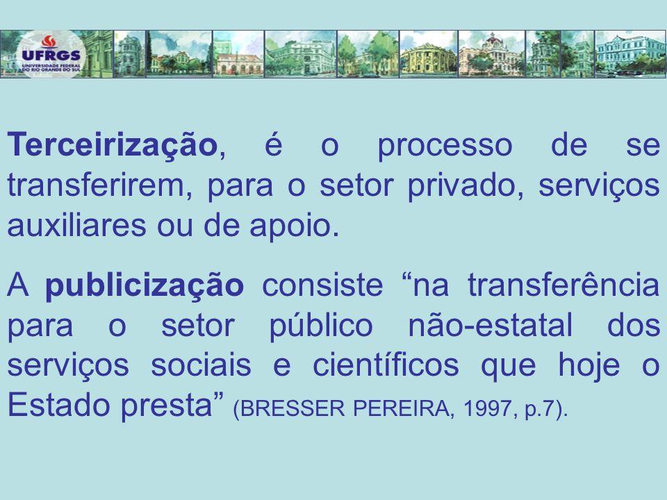 Terceirização, é o processo de se transferirem, para o setor privado, serviços auxiliares ou de apoio. A publicização consiste na transferência para o