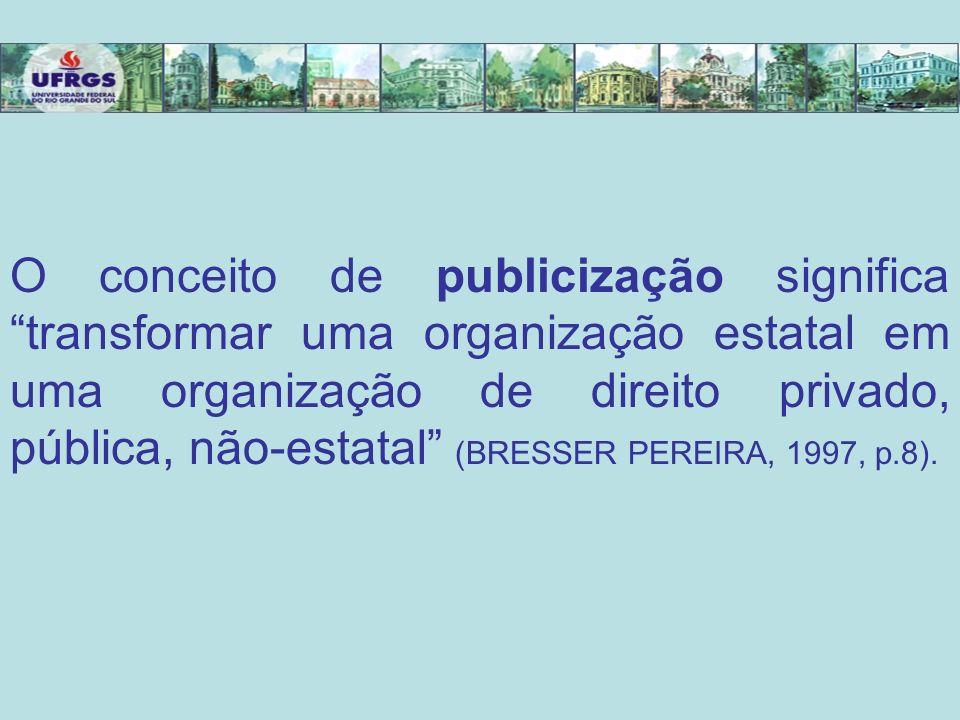 O conceito de publicização significa transformar uma organização estatal em uma organização de direito privado, pública, não-estatal (BRESSER PEREIRA,