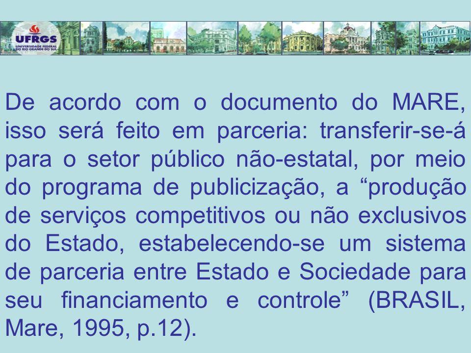 De acordo com o documento do MARE, isso será feito em parceria: transferir-se-á para o setor público não-estatal, por meio do programa de publicização