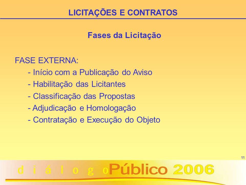 11 FASE EXTERNA: - Início com a Publicação do Aviso - Habilitação das Licitantes - Classificação das Propostas - Adjudicação e Homologação - Contratação e Execução do Objeto LICITAÇÕES E CONTRATOS Fases da Licitação