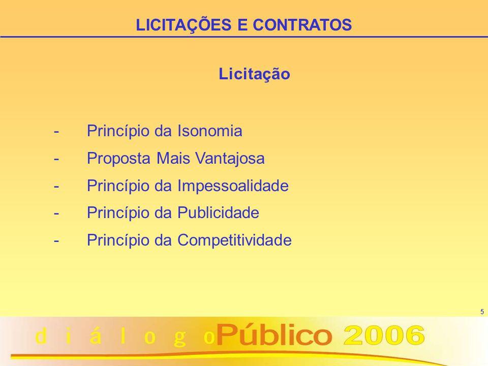5 Licitação - Princípio da Isonomia - Proposta Mais Vantajosa - Princípio da Impessoalidade - Princípio da Publicidade - Princípio da Competitividade LICITAÇÕES E CONTRATOS