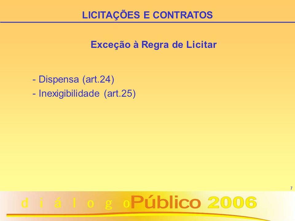 7 Exceção à Regra de Licitar - Dispensa (art.24) - Inexigibilidade (art.25) LICITAÇÕES E CONTRATOS