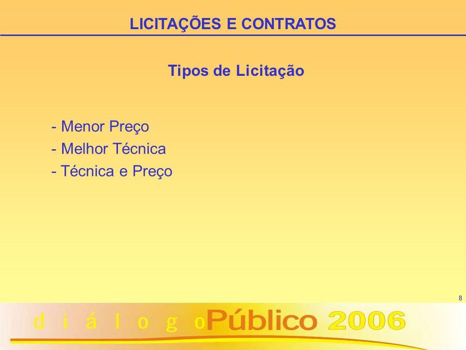 8 Tipos de Licitação - Menor Preço - Melhor Técnica - Técnica e Preço LICITAÇÕES E CONTRATOS