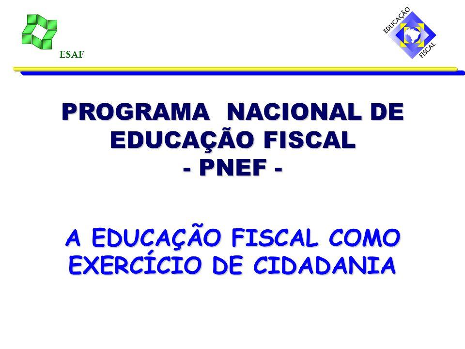 ESAF PROGRAMA NACIONAL DE EDUCAÇÃO FISCAL - PNEF - A EDUCAÇÃO FISCAL COMO EXERCÍCIO DE CIDADANIA