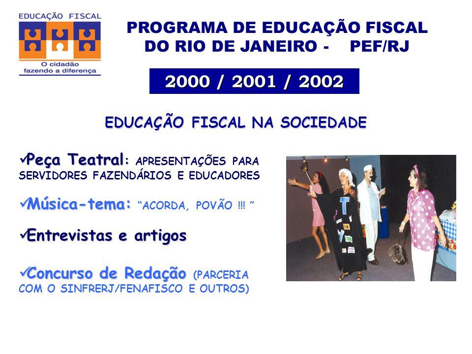 PROGRAMA DE EDUCAÇÃO FISCAL DO RIO DE JANEIRO - PEF/RJ 2000 / 2001 / 2002 EDUCAÇÃO FISCAL NA SOCIEDADE Peça Teatral : Peça Teatral : APRESENTAÇÕES PARA SERVIDORES FAZENDÁRIOS E EDUCADORES Música-tema: Música-tema: ACORDA, POVÃO !!.