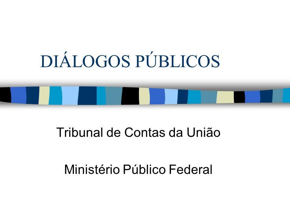 DIÁLOGOS PÚBLICOS Tribunal de Contas da União Ministério Público Federal