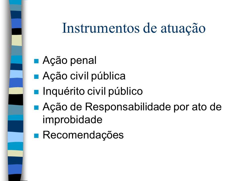 Instrumentos de atuação n Ação penal n Ação civil pública n Inquérito civil público n Ação de Responsabilidade por ato de improbidade n Recomendações