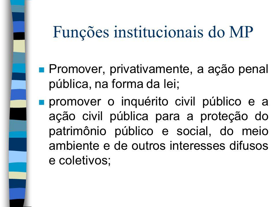 Funções institucionais do MP n Promover, privativamente, a ação penal pública, na forma da lei; n promover o inquérito civil público e a ação civil pú