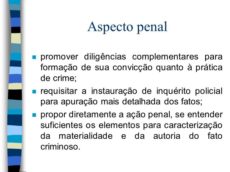 Aspecto penal n promover diligências complementares para formação de sua convicção quanto à prática de crime; n requisitar a instauração de inquérito