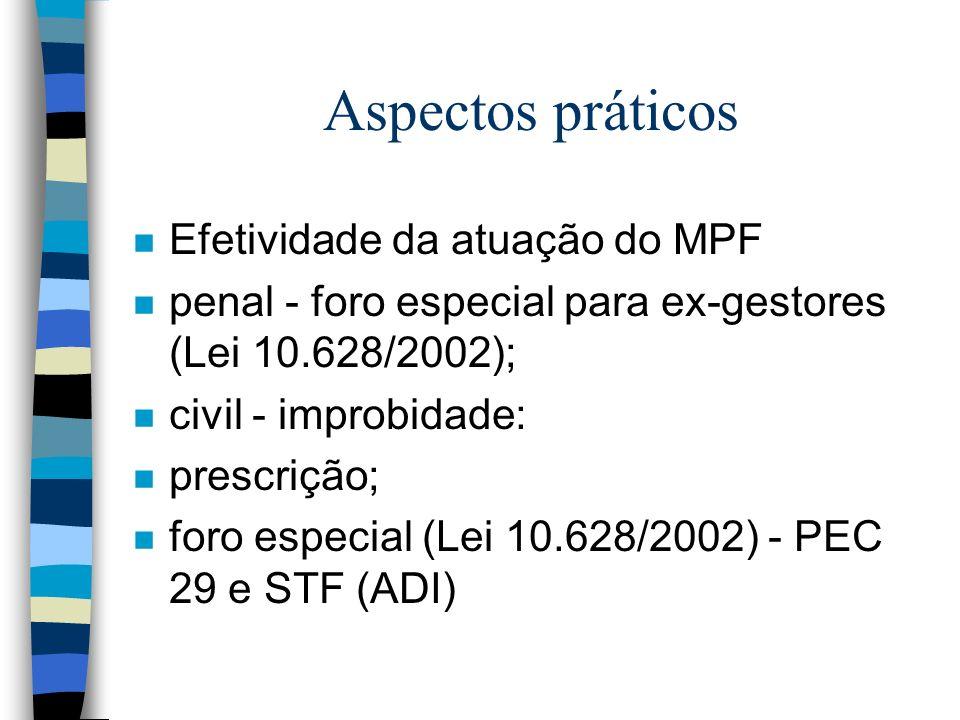 Aspectos práticos n Efetividade da atuação do MPF n penal - foro especial para ex-gestores (Lei 10.628/2002); n civil - improbidade: n prescrição; n foro especial (Lei 10.628/2002) - PEC 29 e STF (ADI)