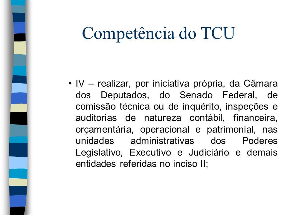 Competência do TCU IV – realizar, por iniciativa própria, da Câmara dos Deputados, do Senado Federal, de comissão técnica ou de inquérito, inspeções e