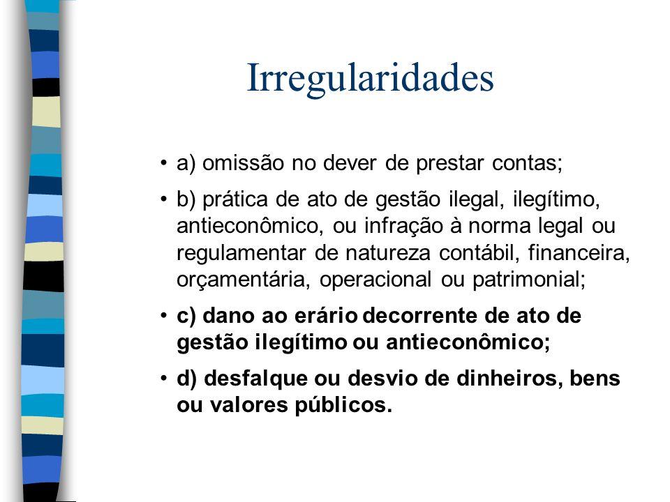Irregularidades a) omissão no dever de prestar contas; b) prática de ato de gestão ilegal, ilegítimo, antieconômico, ou infração à norma legal ou regu
