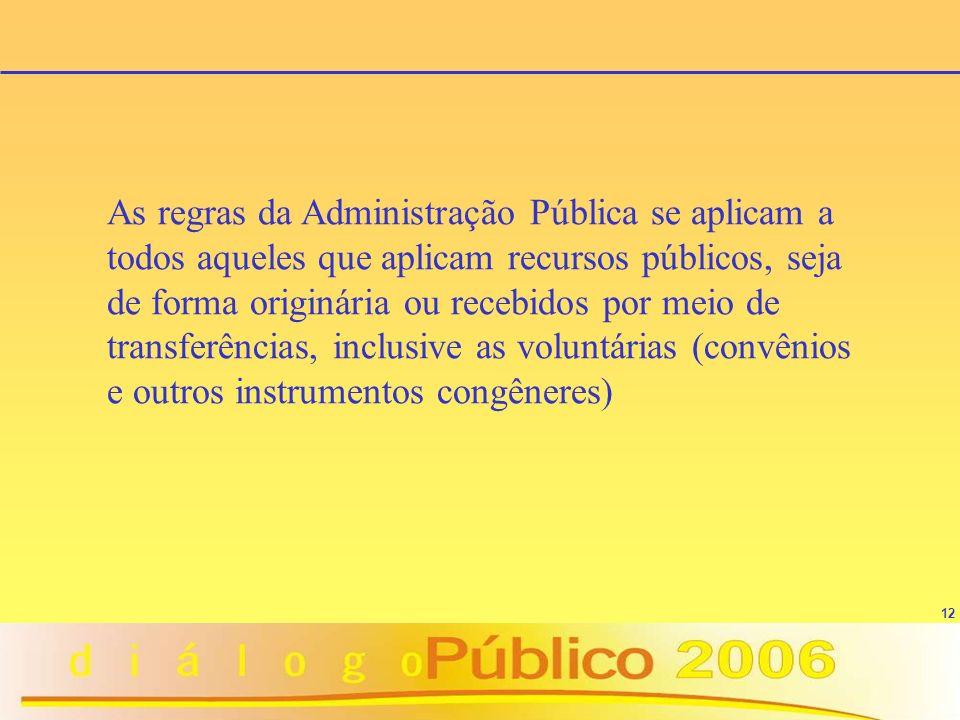 12 As regras da Administração Pública se aplicam a todos aqueles que aplicam recursos públicos, seja de forma originária ou recebidos por meio de transferências, inclusive as voluntárias (convênios e outros instrumentos congêneres)