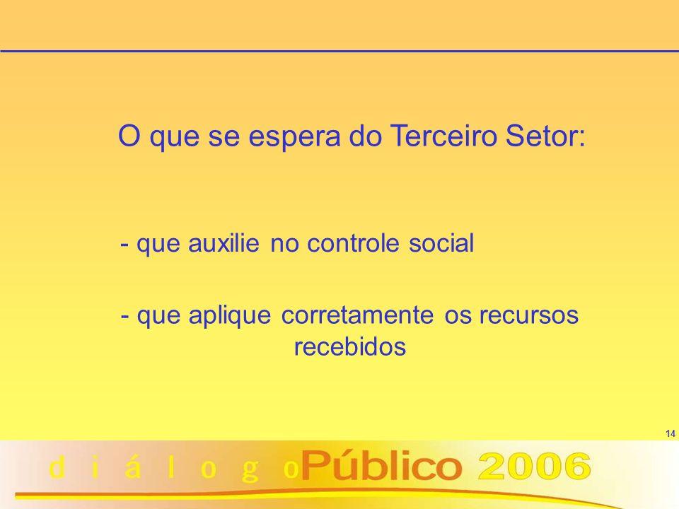14 O que se espera do Terceiro Setor: - que auxilie no controle social - que aplique corretamente os recursos recebidos