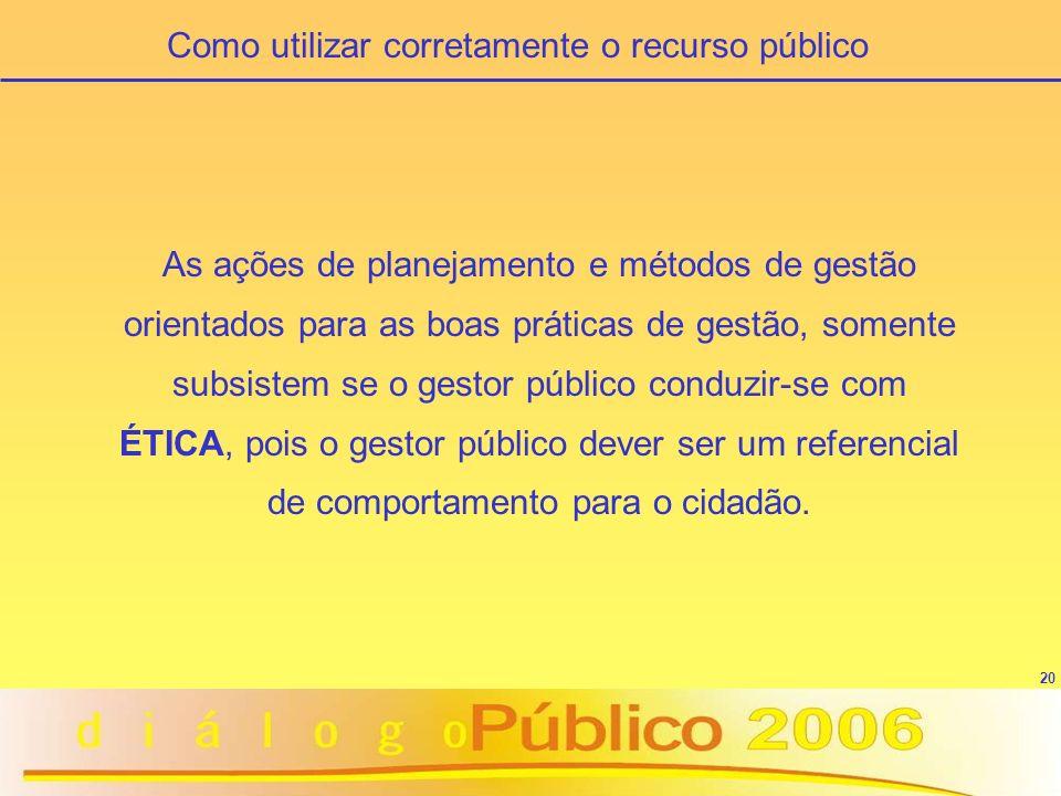 20 As ações de planejamento e métodos de gestão orientados para as boas práticas de gestão, somente subsistem se o gestor público conduzir-se com ÉTICA, pois o gestor público dever ser um referencial de comportamento para o cidadão.