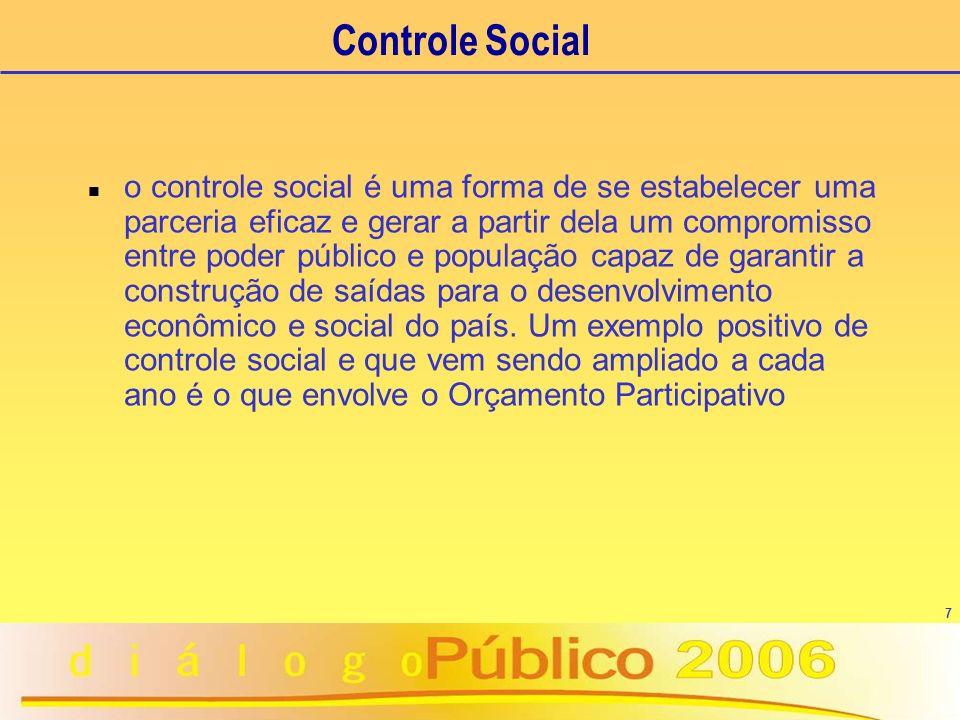 7 Controle Social n o controle social é uma forma de se estabelecer uma parceria eficaz e gerar a partir dela um compromisso entre poder público e população capaz de garantir a construção de saídas para o desenvolvimento econômico e social do país.