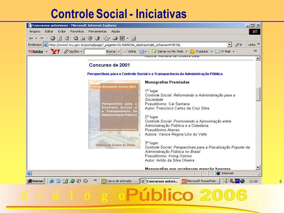8 Controle Social - Iniciativas n É exercido por: u qualquer cidadão u organizações da sociedade civil u conselheiros de programas governamentais