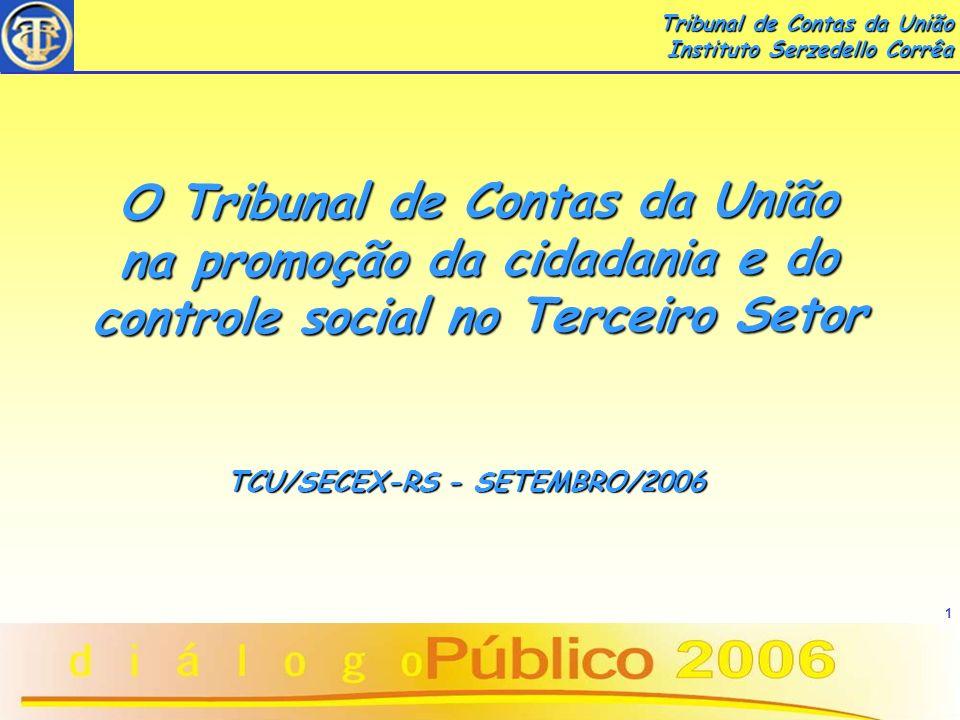 2 CONHECENDO O TRIBUNAL DE CONTAS DA UNIÃO CONHECENDO O TRIBUNAL DE CONTAS DA UNIÃO www.tcu.gov.br Sede: Setor de Administração Federal Sul - Brasília/DF SECEX/RS - Caldas Junior, 120/20º - andar - POA/RS José Ricardo Tavares Louzada ACE - TCU/SECEX-RS josert@tcu.gov.br