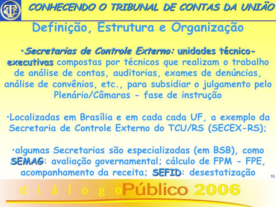 10 Definição, Estrutura e Organização Secretarias de Controle Externo:unidades técnico- executivasSecretarias de Controle Externo: unidades técnico- e