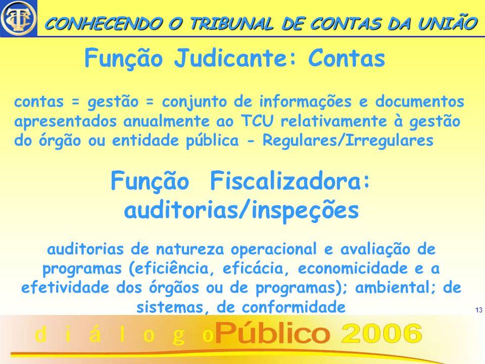 13 CONHECENDO O TRIBUNAL DE CONTAS DA UNIÃO CONHECENDO O TRIBUNAL DE CONTAS DA UNIÃO Função Judicante: Contas contas = gestão = conjunto de informaçõe