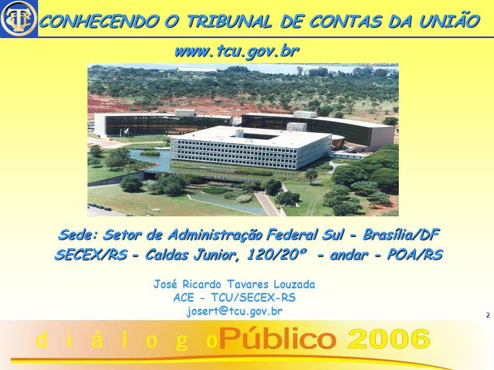 2 CONHECENDO O TRIBUNAL DE CONTAS DA UNIÃO CONHECENDO O TRIBUNAL DE CONTAS DA UNIÃO www.tcu.gov.br Sede: Setor de Administração Federal Sul - Brasília