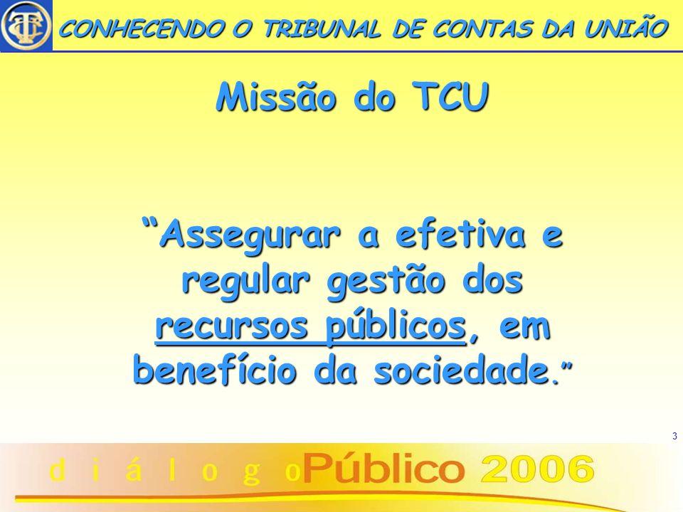 3 Missão do TCU Assegurar a efetiva e regular gestão dos recursos públicos, em benefício da sociedade.Assegurar a efetiva e regular gestão dos recurso