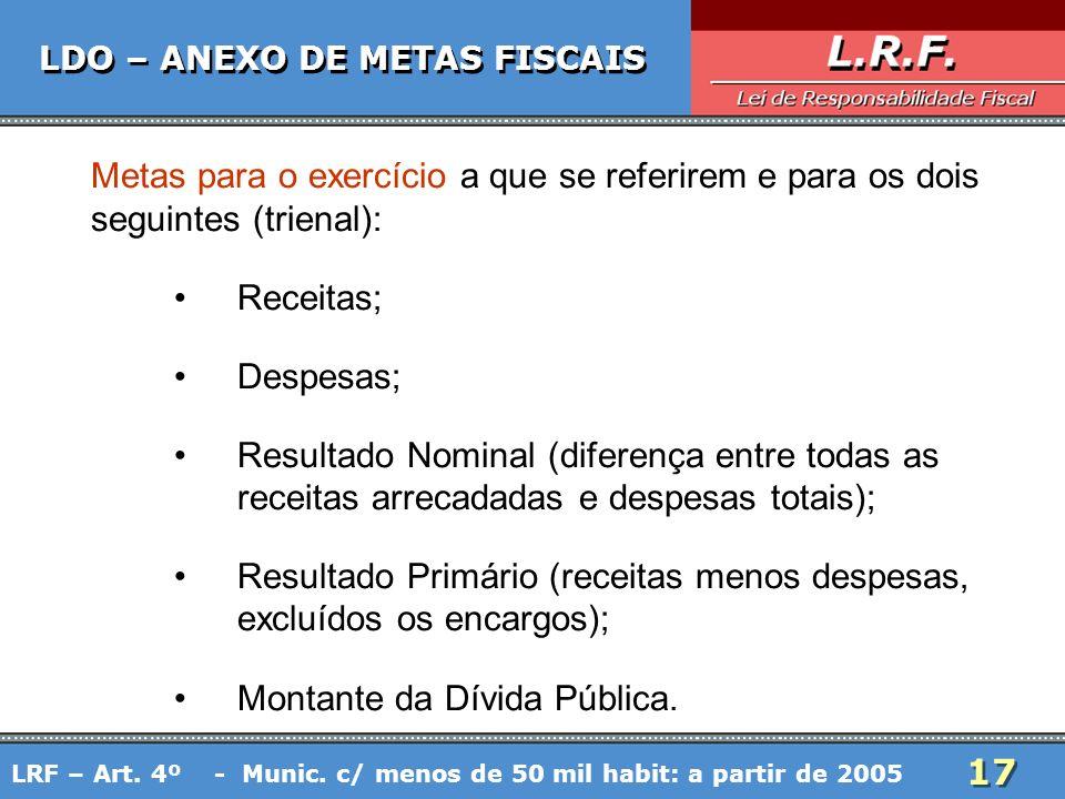 17 LDO – ANEXO DE METAS FISCAIS Metas para o exercício a que se referirem e para os dois seguintes (trienal): Receitas; Despesas; Resultado Nominal (d