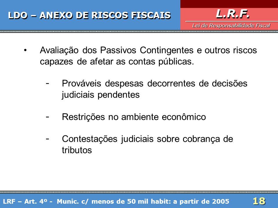 18 LDO – ANEXO DE RISCOS FISCAIS Avaliação dos Passivos Contingentes e outros riscos capazes de afetar as contas públicas. - Prováveis despesas decorr