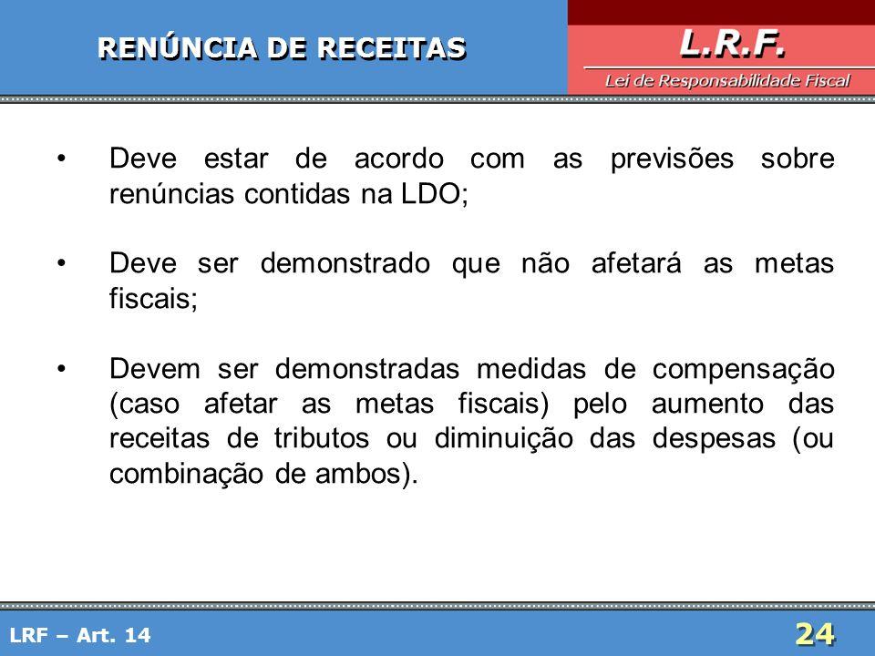 24 RENÚNCIA DE RECEITAS Deve estar de acordo com as previsões sobre renúncias contidas na LDO; Deve ser demonstrado que não afetará as metas fiscais;