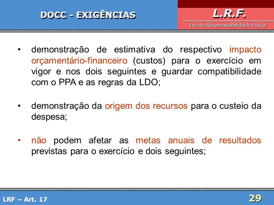 29 DOCC - EXIGÊNCIAS demonstração de estimativa do respectivo impacto orçamentário-financeiro (custos) para o exercício em vigor e nos dois seguintes