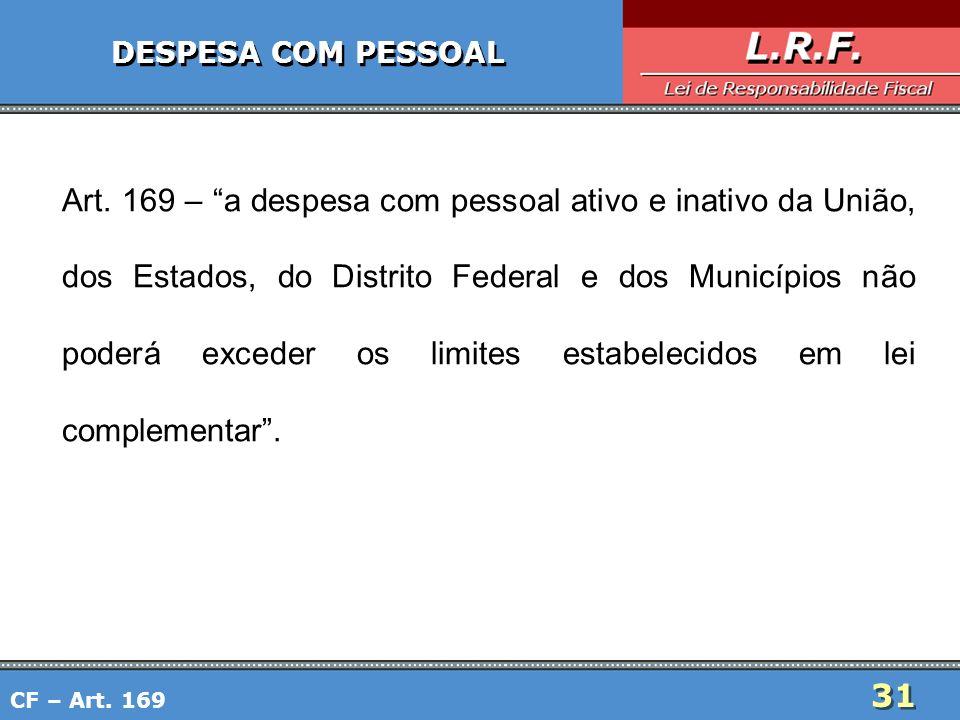 31 DESPESA COM PESSOAL Art. 169 – a despesa com pessoal ativo e inativo da União, dos Estados, do Distrito Federal e dos Municípios não poderá exceder