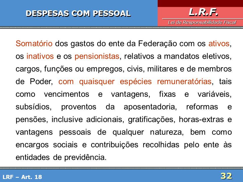 32 DESPESAS COM PESSOAL Somatório dos gastos do ente da Federação com os ativos, os inativos e os pensionistas, relativos a mandatos eletivos, cargos,