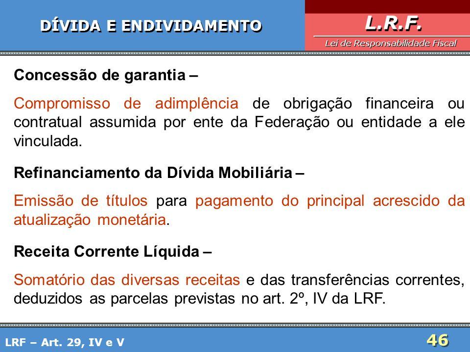 46 DÍVIDA E ENDIVIDAMENTO Concessão de garantia – Compromisso de adimplência de obrigação financeira ou contratual assumida por ente da Federação ou e