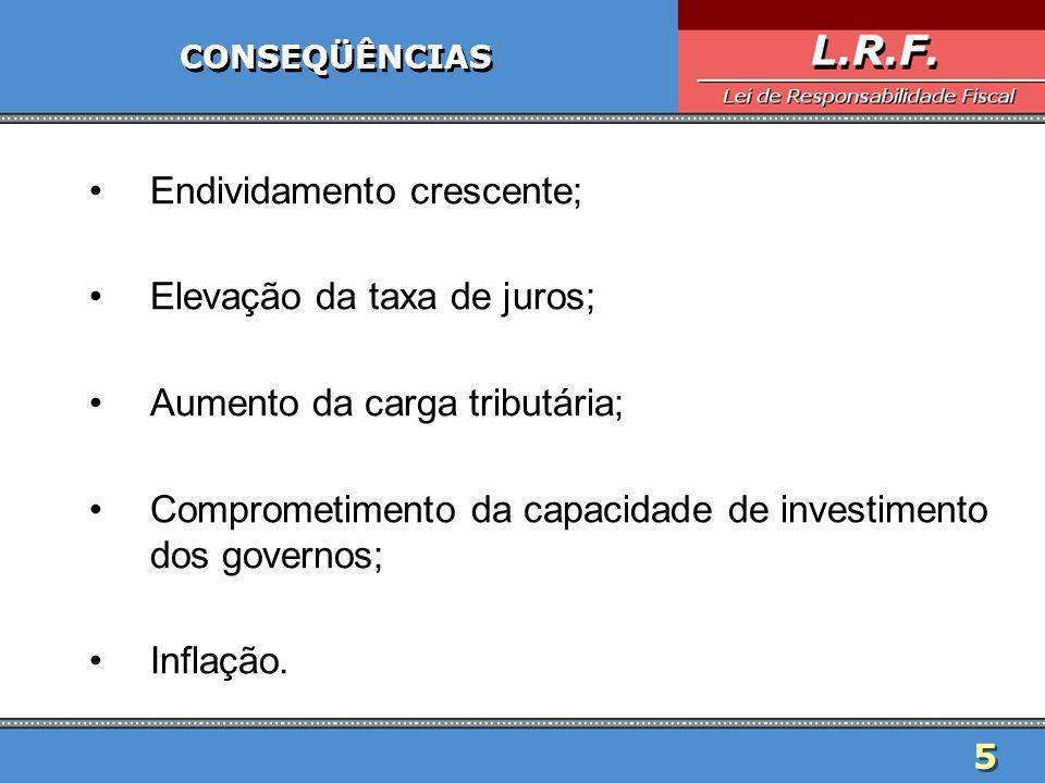 5 CONSEQÜÊNCIAS Endividamento crescente; Elevação da taxa de juros; Aumento da carga tributária; Comprometimento da capacidade de investimento dos gov