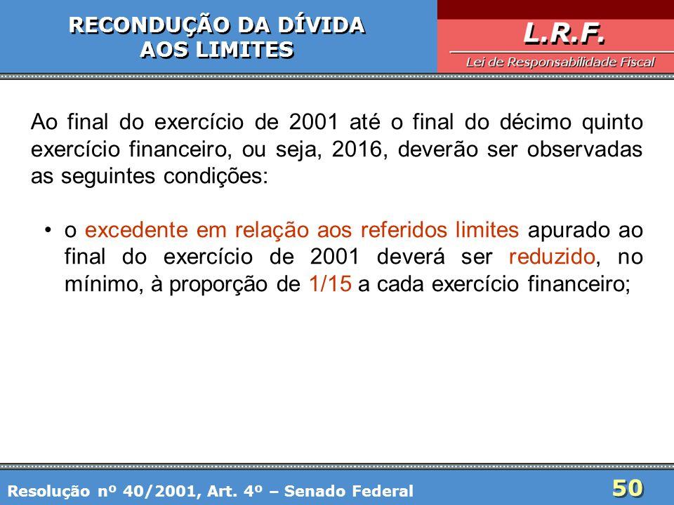 50 RECONDUÇÃO DA DÍVIDA AOS LIMITES RECONDUÇÃO DA DÍVIDA AOS LIMITES Ao final do exercício de 2001 até o final do décimo quinto exercício financeiro,