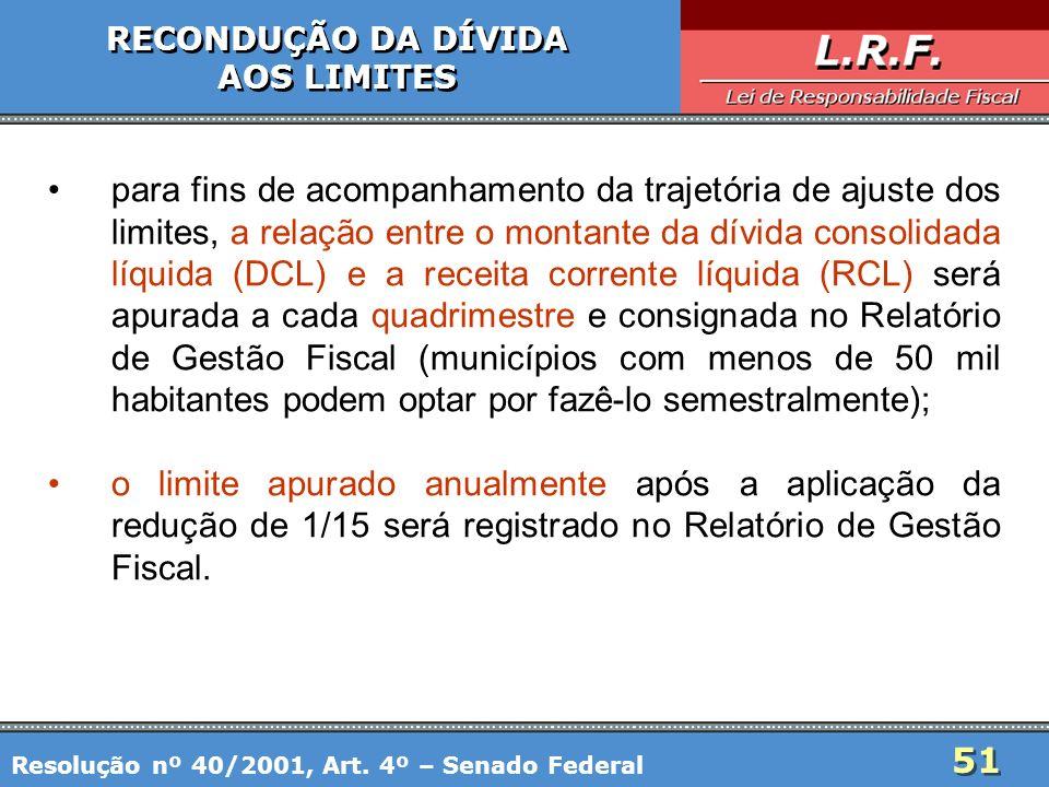 51 RECONDUÇÃO DA DÍVIDA AOS LIMITES RECONDUÇÃO DA DÍVIDA AOS LIMITES para fins de acompanhamento da trajetória de ajuste dos limites, a relação entre