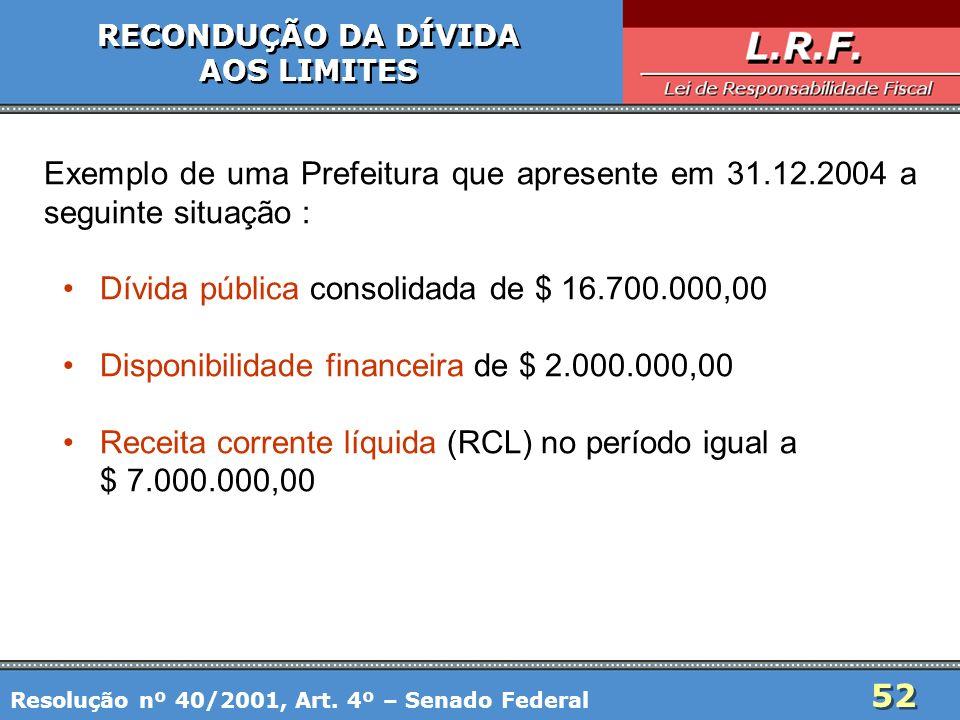 52 RECONDUÇÃO DA DÍVIDA AOS LIMITES RECONDUÇÃO DA DÍVIDA AOS LIMITES Exemplo de uma Prefeitura que apresente em 31.12.2004 a seguinte situação : Dívid
