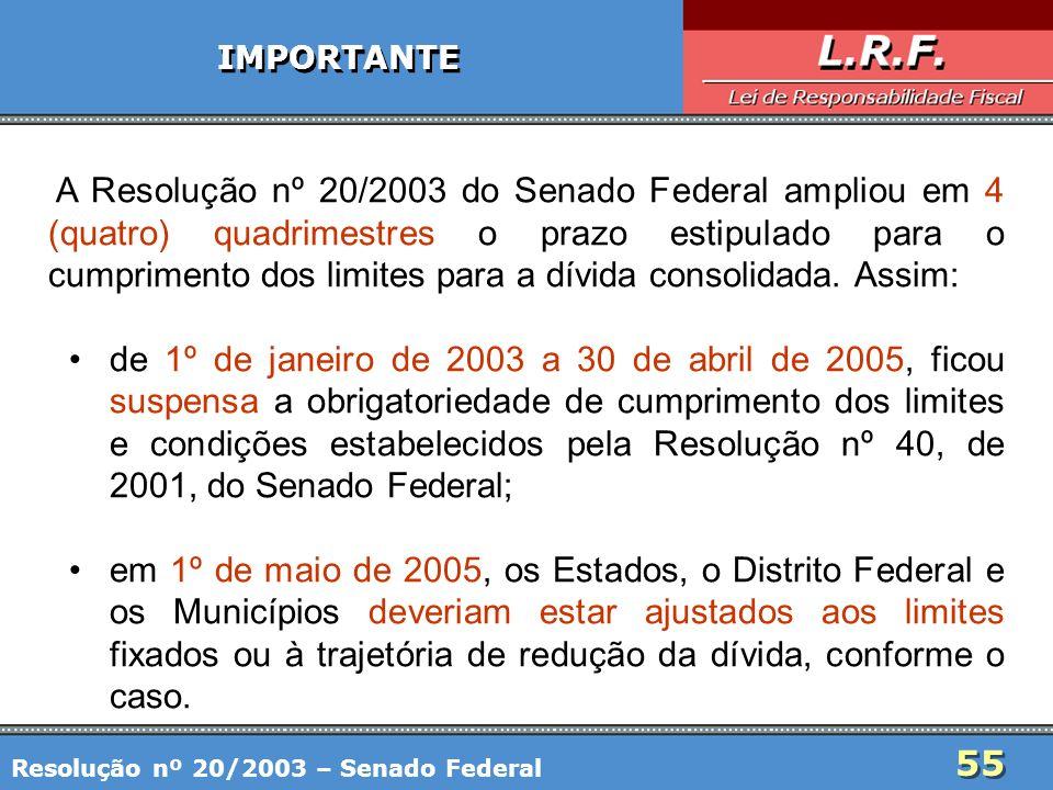 55 IMPORTANTE A Resolução nº 20/2003 do Senado Federal ampliou em 4 (quatro) quadrimestres o prazo estipulado para o cumprimento dos limites para a dí