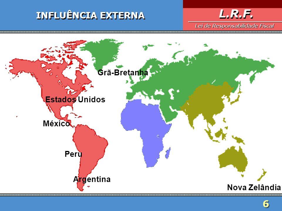 6 INFLUÊNCIA EXTERNA Estados Unidos Argentina Nova Zelândia Grã-Bretanha Peru México