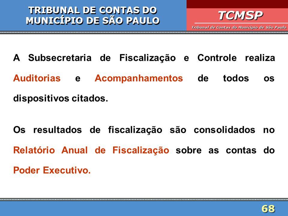 68 LEI DE RESPONSABILIDADE FISCAL TRIBUNAL DE CONTAS DO MUNICÍPIO DE SÃO PAULO TRIBUNAL DE CONTAS DO MUNICÍPIO DE SÃO PAULO A Subsecretaria de Fiscali
