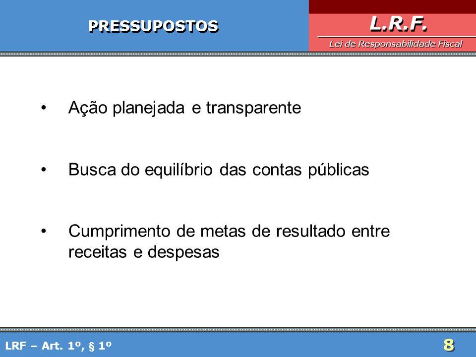 8 PRESSUPOSTOS Ação planejada e transparente Busca do equilíbrio das contas públicas Cumprimento de metas de resultado entre receitas e despesas LRF –